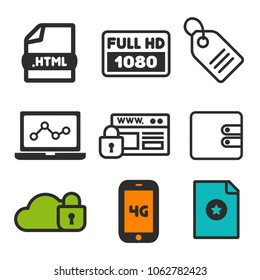 Full HD 1080p icon. Laptop statistics symbol. Cloud Security and Website Security icons. Shopping label sign. Favorite and Smartphone 4G icons. Eps10 Vector.