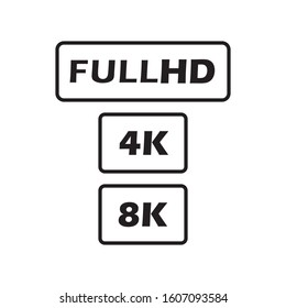 FULL HD 4K 8K video format vector icon isolated on white background. Web tv screen concept. High resolution.