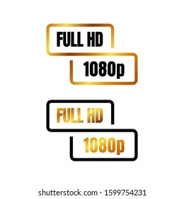 full HD logo symbol 1080p sign mark Full High definition resolution icon vector