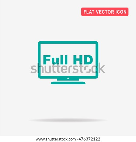 Full Hd Tv Icon Vector Concept Stock Vector (Royalty Free