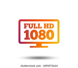 Full hd widescreen tv sign icon. 1080p symbol. Blurred gradient design element. Vivid graphic flat icon. Vector
