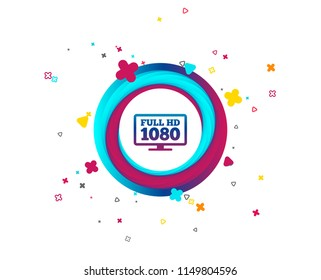 Full hd widescreen tv sign icon. 1080p symbol. Colorful button with icon. Geometric elements. Vector