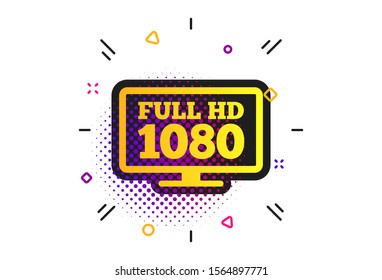 Full hd widescreen tv sign icon. Halftone dots pattern. 1080p symbol. Classic flat widescreen icon. Vector