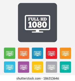 Full hd widescreen tv sign icon. 1080p symbol. Rounded squares 11 buttons. Vector
