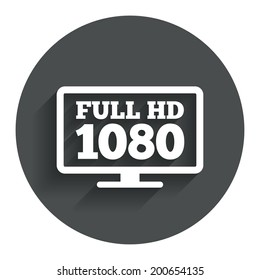 Full hd widescreen tv sign icon. 1080p symbol. Circle flat button with shadow. Modern UI website navigation. Vector