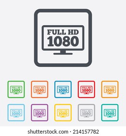 Full hd widescreen tv sign icon. 1080p symbol. Round squares buttons with frame. Vector