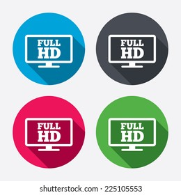 Full hd widescreen tv sign icon. High-definition symbol. Circle buttons with long shadow. 4 icons set. Vector