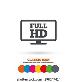 Full hd widescreen tv sign icon. High-definition symbol. Classic flat icon. Colored circles. Vector