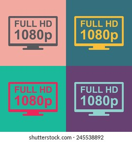 Full hd widescreen TV vector icon.