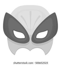 Full head mask icon in monochrome style isolated on white background. Superhero's mask symbol stock vector illustration.