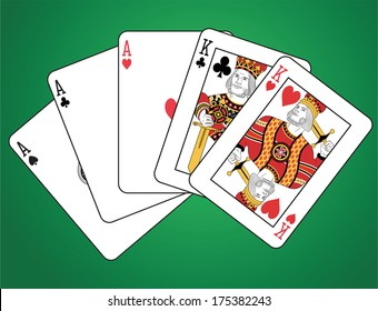 Full house of two kings and three aces on green background.  The figures are original design.