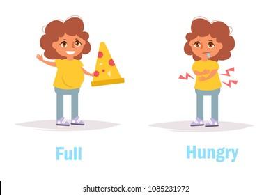 Full Hungry Opposite Antonyms Vector. Cartoon. Isolated art on white background. Flat