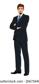 Full length body businessman isolated on white background vector illustration