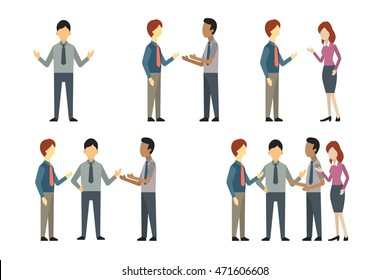 Full length of business man, woman, and people have conversation or talking, greeting, meeting. Vector illustration character set, flat design.
