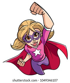 Full length cartoon illustration of a powerful and healthy super girl flying while wearing superhero costume against white background for copy space