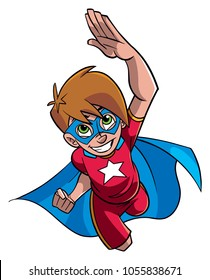 Full length cartoon illustration of a powerful and healthy super boy flying while wearing superhero costume against white background for copy space