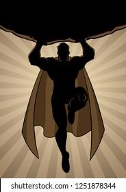 Full length cartoon illustration of a powerful and healthy super boy, flying against ray light background.