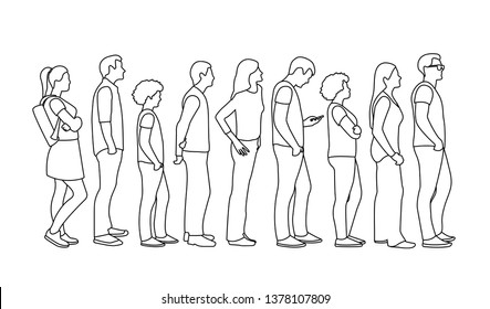 Full length of cartoon people standing in line against outline