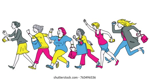 Full length character of women group running forward, aiming for super big sale promotion, concept of going shopping. Diversity, multi-ethnic. Outline, linear, thin line art, hand drawn sketch.