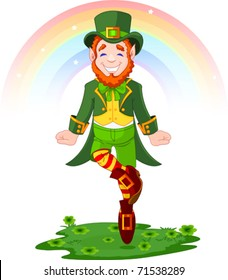Full length drawing of a leprechaun dancing a jig for St. Patrick's Day
