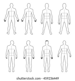 Full length front, back man outlined silhouette vector illustration with marked body's sizes lines, isolated on white