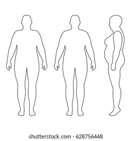 Full length front, back, side view of a fat standing naked woman outlined silhouette, isolated on white background. Vector illustration. You can use this image for fashion design and etc.