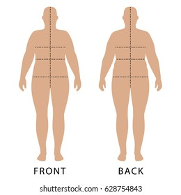 Full length front and back view of a fat standing naked woman outlined silhouette with marked body sizes lines, isolated on white background. Vector illustration.