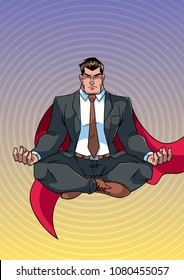 Full length front view of businessman meditating for calmness and stress relief, against abstract background for copy space.
