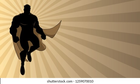 Full length illustration of cartoon superhero wearing cape while flying over abstract ray light background.