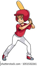 Full length illustration of a competitive and confident boy smiling while holding the baseball bat during match against white background for copy space