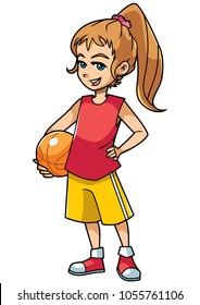 Full length illustration of a cute and active girl holding a basketball while wearing cool summer clothing outdoors against white background for copy space
