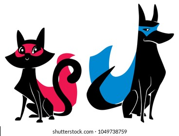Full length illustration of a cute cartoon cat sitting next to a dog with super powers while wearing superhero capes against white background for copy space.