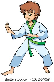 Full length illustration of a determined boy wearing karate suit and green belt while practicing martial arts for self-defense against white background for copy space.