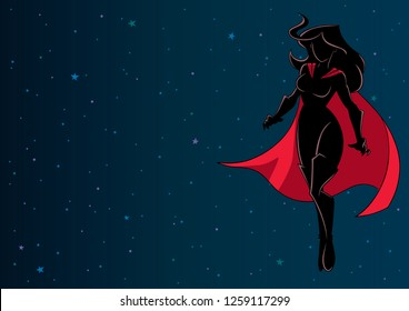 Full length illustration of determined and powerful superheroine wearing cape while flying in the outer space during mission.
