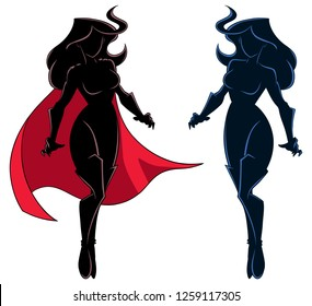 Full length illustration of determined and powerful superheroine flying during mission against white background for copy space.
