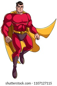Full length illustration of happy cartoon superhero wearing cape and red costume while flying up during mission against white background for copy space.