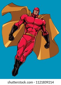 Full length illustration of powerful superhero looking down while soaring in the sky.
