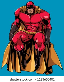 Full length illustration of powerful superhero sitting on the edge of a roof or on a wall, isolated on blue background.