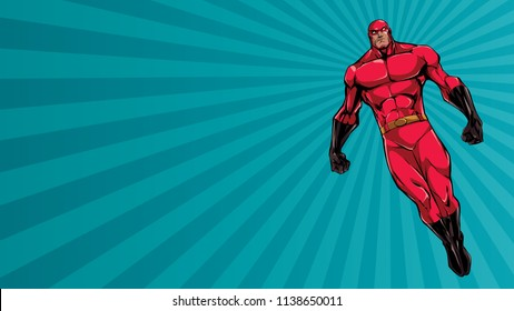 Full length illustration of powerful superhero looking down while soaring over abstract background.