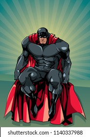 Full length illustration of powerful superhero sitting on the edge of a roof or on a wall with abstract ray light background behind him.