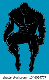 Full length illustration of powerful superhero sitting on the edge of a roof or on a wall.