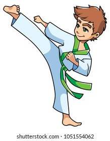Full length illustration of a skilled boy with green belt exercising balance and flexibility during karate stance against white background for copy space