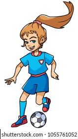 Full length illustration of a skilled and competitive girl dribbling during football match against white background for copy space