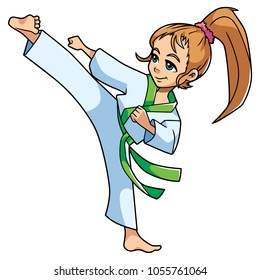 Full length illustration of a skilled girl with green belt exercising balance and flexibility during karate stance against white background for copy space