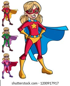 Full length illustration of super heroine girl smiling happy while wearing cape and superhero costume.