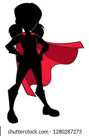 Full length illustration of super heroine girl wearing cape and superhero costume.
