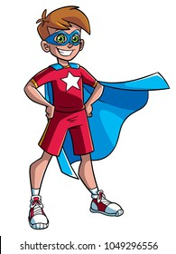 Full length illustration of a superhero boy smiling happy while wearing a blue cape against white background for copy space