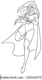 Full length line art illustration of happy superheroine mom holding her cute newborn baby boy in her arms isolated on white background for copy space.