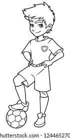 Full length line art illustration of a competitive boy and football player with uniform smiling at the beginning of a match against white background for copy space.