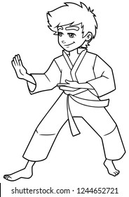 Full length line art illustration of determined boy wearing karate suit while practicing martial arts for self-defense against white background for copy space.
